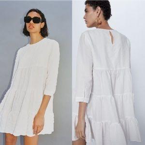 ZARA White Weave The Sharon Mini Dress Size M